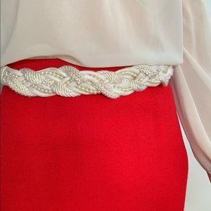 Vintage Braided Belt Rope Pearl Bridal 80's Cream